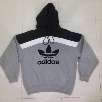 Vintage Adidas hoodie 90's / Sewn black Trefoil Pullover / Black & Gray colour / Hip Hop Small size