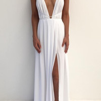 White Spaghetti Straps Simple Prom Dresses