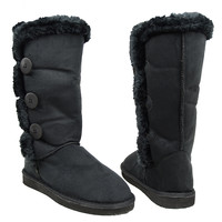 Womens Mid Calf Boots Faux Fur Trim Side Button Pull On Comfort Shoes Black SZ