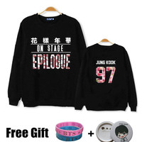 Kpop bts hoodies for men women bangtan boys 2016 bts epilogue printed fans supportive o neck sweatshirt plus size tracksuits
