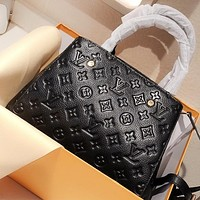 Hipgirls LV New fashion monogram print leather shoulder bag crossbody bag handbag Black