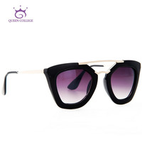 Queen College with case Free shipping Vintage brand sunglasses women Hot Selling sun glasses Metal temple UV400 QC0132