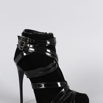 Liliana Buckle Strappy Almond Toe Stiletto Heeled Booties