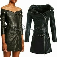Stylish Black Faux Leather Mini Dress