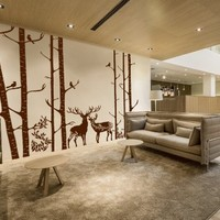 Ik5-wall Decal Sticker Room Decor Wall Art Mural Deer Beautiful Birch Forest Grove Animals Dining Room Kitchen Bedroom Living Room Children