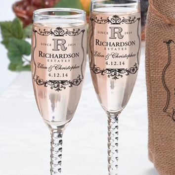 Personalized Champagne Flutes, Personalized Champagne Glasses