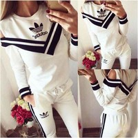 ADIDAS Off-Shoulder Stripe V Neck Two Piece Suit Sports Set