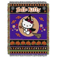 "Hello Kitty Witchy Kitty""  Woven Tapestry Throw (48inx60in)"""