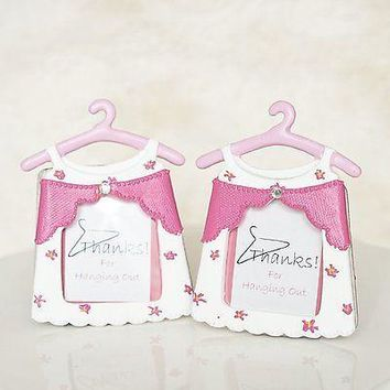 2 Pink Baby Shower Thanks For Hanging with Us Picture Frames Girl Dress Favors