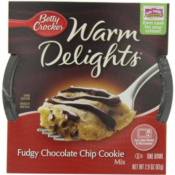 Betty Crocker Warm Delights, Fudgy Chocolate Chip Cookie, 2.9-Ounce Bowls (Pack of 8)