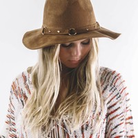 Brown Boho Vegan Suede Hat