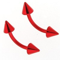 """16g Red Titanium Anodized Over Surgical Steel Curved Barbell Eyebrow Ring Body Jewelry Piercing with Spikes 16 Gauge 5/16"""" Sold As a Single 7Z ACC"""