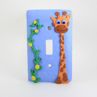 Giraffe Light Switch Cover, Blue Switch Cover, Decorative Switch Covers, Wall Plates, Custom Light Switch Covers, Childrens Switch Covers,