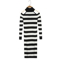Sheath Striped Full Sleeve Women Dress Casual 2016 Spring 2 Colors Turtleneck Hollow Out Party Dress