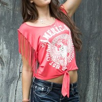 tie front top with american screen, silver foil, and fringe sleeves