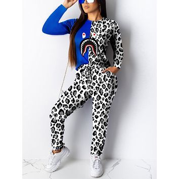 Splicing White Long Sleeves Patchwork Sweat Suit Comfort Fabric