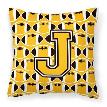 Letter J Football Black, Old Gold and White Fabric Decorative Pillow CJ1080-JPW1414