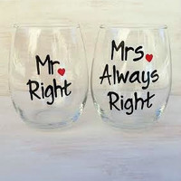 Mr. Right and Mrs. Always Right hand-painted wedding wine glasses