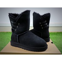 UGG Waterproof Antifouling Fabric Black Snow Boots