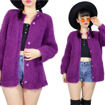 vintage 80s purple sweater fuzzy knit cardigan button up jacket woven chunky 90s sweater top small