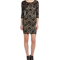 Honey and Rosie Two Tone Scalloped Lace Dress - Black/Nude
