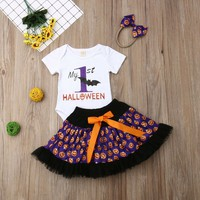 3Pcs Baby Girl Outfits 1st Halloween Romper Tops+Tutu Skirt Party Dress Clothes