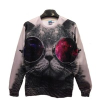 Pink Queen Pullover Round Collar Sunglasses Cat White Sweatshirt Sweater Hoodie
