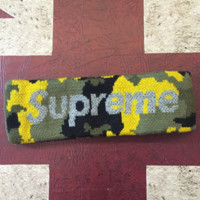 Supreme fashion new hair band sports letter camouflage headband with a forehead Yellow