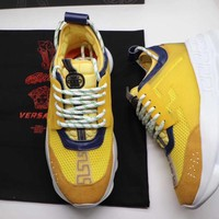 Versace Women Men Yellow Fashion Casual Sneakers Sport Shoes