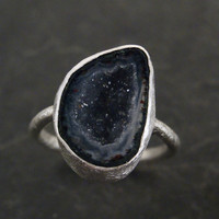 Large Blue Tabasco Geode Ring in Sterling Silver
