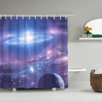 Night Sky Stars Bath Bathing Fabric Shower Curtains Scene Universe View