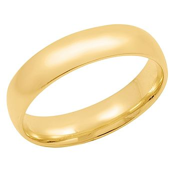 Men's 14K Yellow Gold 5mm Comfort Fit Plain Wedding Band  (Available Ring Sizes 8-12 1/2)