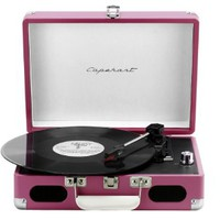 Capehart Suitcase Style 3-speed Stereo Turntable with Built-in Speakers (Pink)