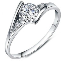 Women's White Cubic Zirconia Love Promise Cz Ring Engagement Wedding Eternity Bands Silver 5
