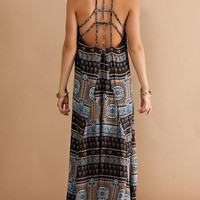 Strappy Back Maxi Dress - Brown