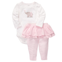 """Carter's Girls """"Daddy's Princess"""" 2 Piece Embroidered Long Sleeve Bodysuit with Tutu Pant Set"""