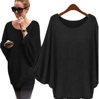 Autumn winter Women Sweater retro batwing sleeve Knitted Pullover Loose Oversized Elegant loose O neck sweaters