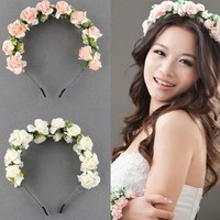 deals] New Flower Garland Floral Bridal Headband Hairband Wedding Prom Hair Accessories = 5988099201