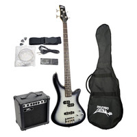 Pyle PGEKT50 Professional Full Size Electric Bass Guitar Package W/Amplifier