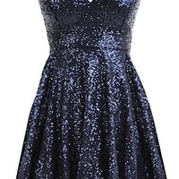 Midnight Frost Dress | Strapless Navy Blue Sequin Party Dresses | Rickety Rack