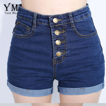 YuooMuoo 2016 Fashion 4 Buttons Retro Elastic High Waist Shorts Feminino Denim Shorts for Women Loose Plus Size Blue Jeans Short