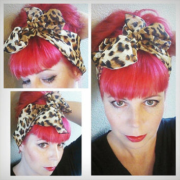 Leopard Cheetah Animal Print Vintage Style Chiffon Hair Scarf Headwrap Hair Bow Scarves 1940s 1950s Rockabilly - Pin Up - For Women, Teens