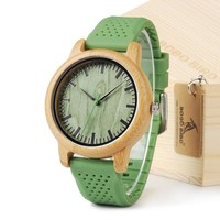 Men's Quartz Watch With Silicone Strap Green Wooden Bamboo Casual Japanese Movement Watch With Gift Box