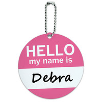 Debra Hello My Name Is Round ID Card Luggage Tag