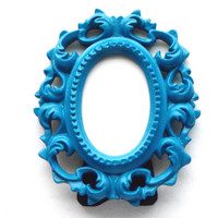 Teal Picture Frame - Oval Painted Frame - Small Picture Frame - Ornate Picture Frame - Baroque Photo Frame,Whimsical Frame,Blue Table Frame