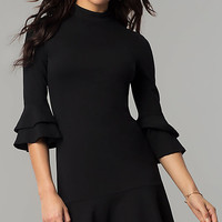 Short Black Mock-Neck Party Dress with Bell Sleeves
