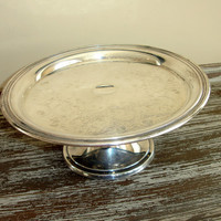 Vintage Silver Cake Pedestal, Wedding Cake Stand, Cake Plate, Silverplated, Silver Plate, Country French, Shabby Cottage Chic, Wm Rogers Son