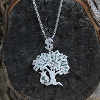 "14k White Gold Finish Money Tree Iced Out Pendant Free 24"" Steel Box Chain"