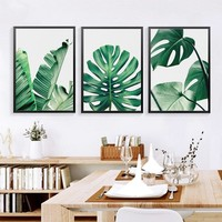 Modern Green Leaf Tropical Monstera Art Canvas Painting Posters Prints,living room home decor wall art pictures no frame SID028
