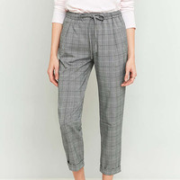 Light Before Dark Tie Front Grey Checked Trousers - Urban Outfitters